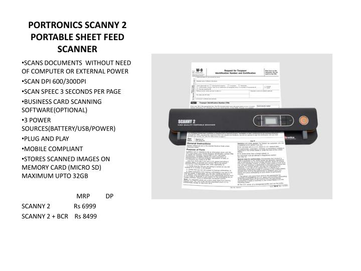 PORTRONICS SCANNY 2 PORTABLE SHEET FEED SCANNER