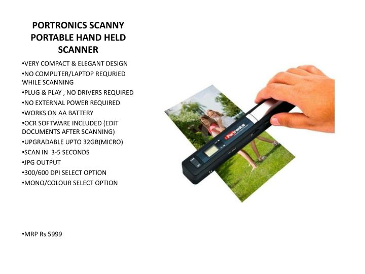 PORTRONICS SCANNY PORTABLE HAND HELD SCANNER