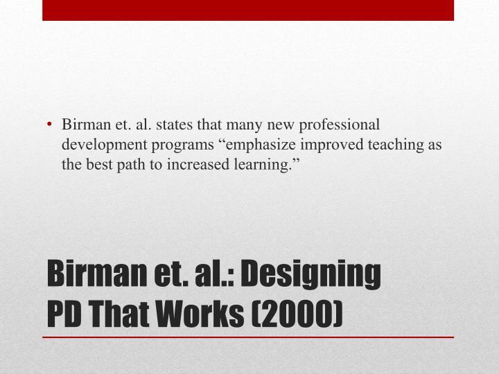 Birman et al designing pd that works 2000