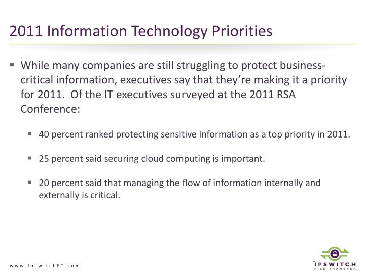 2011 Information Technology Priorities