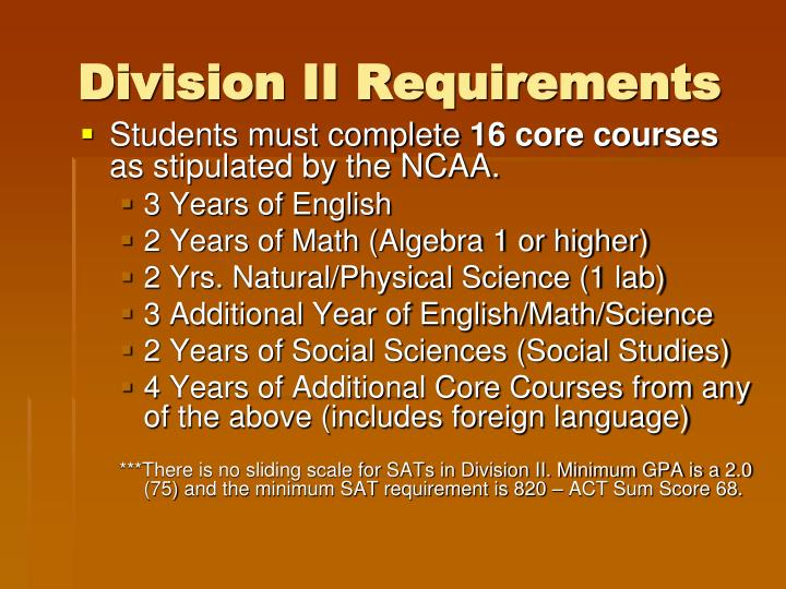 Division II Requirements