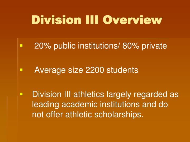 Division III Overview