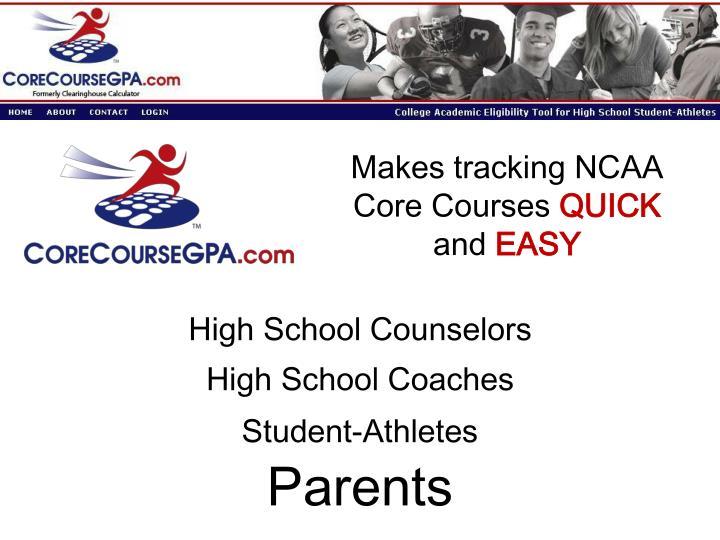 Makes tracking NCAA Core Courses