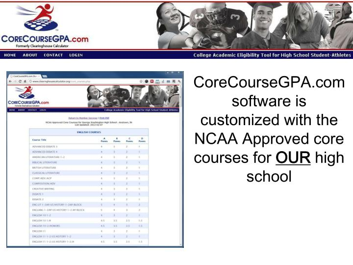 CoreCourseGPA.com software is customized with the NCAA Approved core courses for