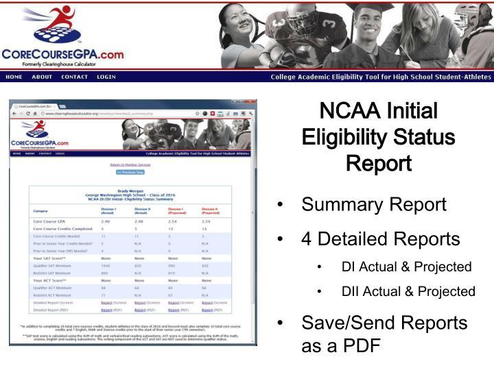 NCAA Initial Eligibility Status Report