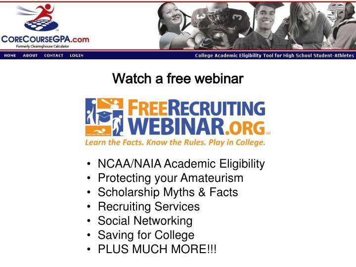 Watch a free webinar