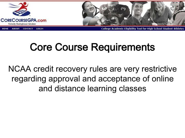 Core Course Requirements