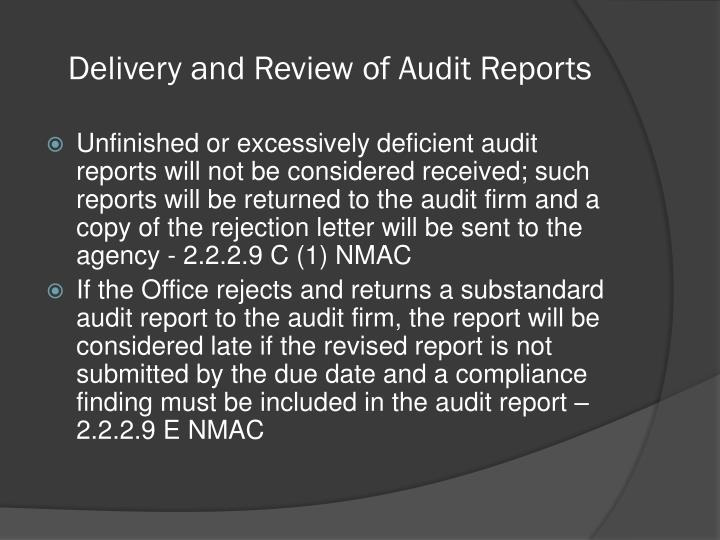 Delivery and Review of Audit Reports