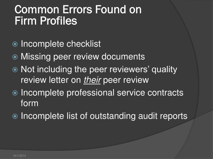 Common Errors Found on