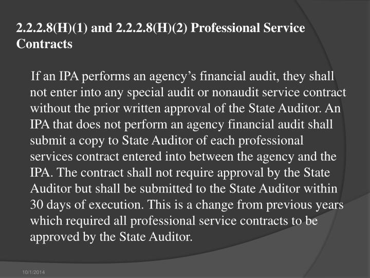2.2.2.8(H)(1) and 2.2.2.8(H)(2) Professional Service Contracts