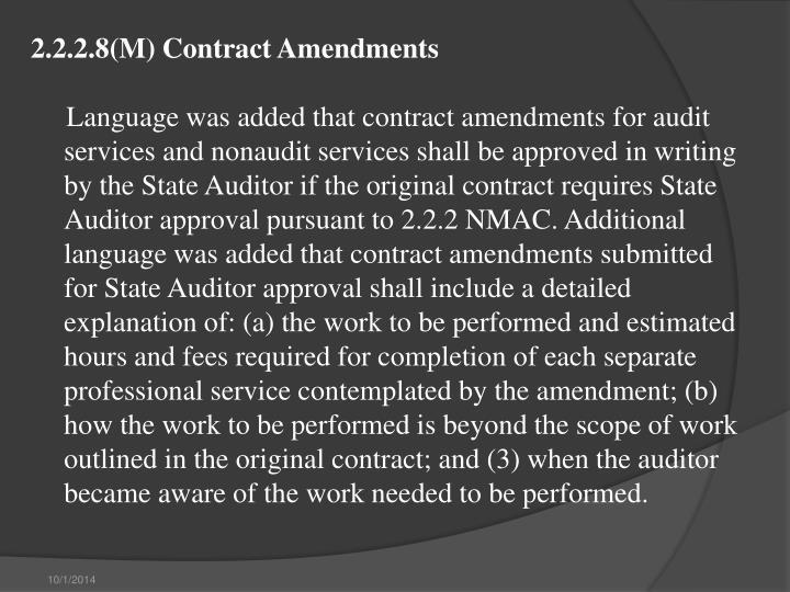2.2.2.8(M) Contract Amendments
