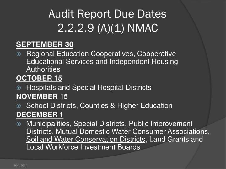 Audit Report Due Dates