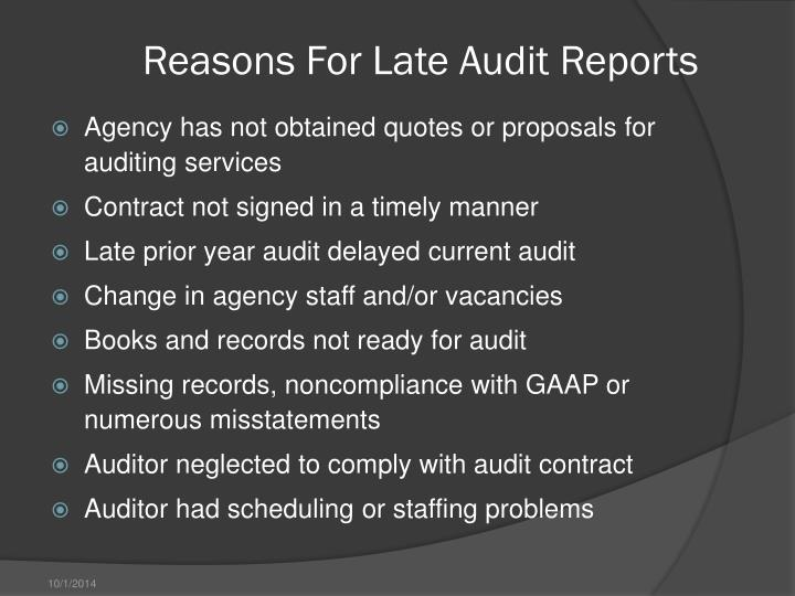 Reasons For Late Audit Reports