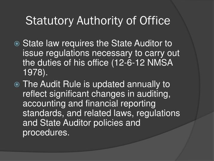 Statutory Authority of Office
