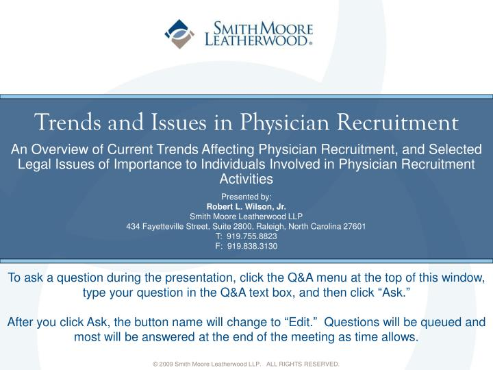 trends and issues in physician recruitment n.
