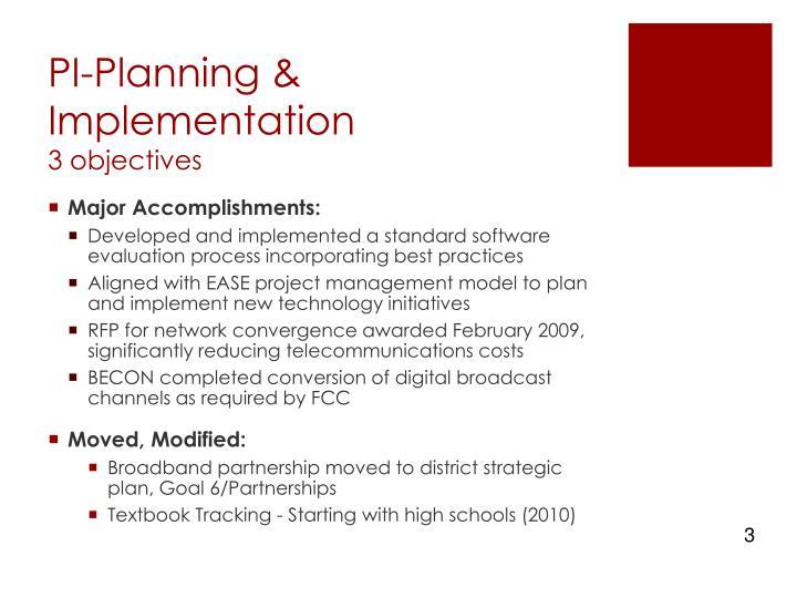 Pi planning implementation 3 objectives