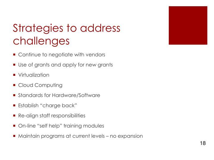 Strategies to address challenges