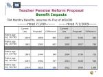 teacher pension reform proposal benefit impacts