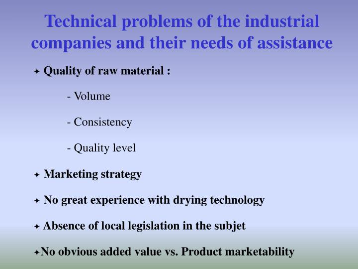 Technical problems of the industrial companies and their needs of assistance