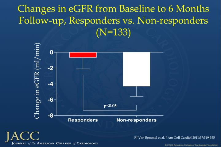 Changes in eGFR from Baseline to 6 Months Follow-up, Responders vs. Non-responders (N=133)
