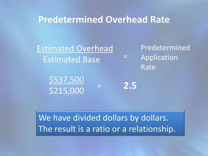 predetermined overhead rates example A predetermined overhead rate is calculated at the beginning of an accounting period and is used to apply manufacturing overhead to work in process.