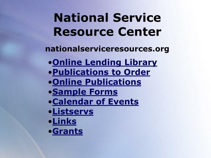 National Service Resource Center