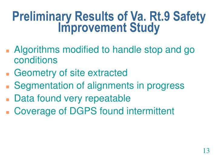 Preliminary Results of Va. Rt.9 Safety Improvement Study