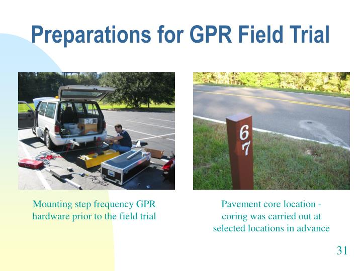 Preparations for GPR Field Trial