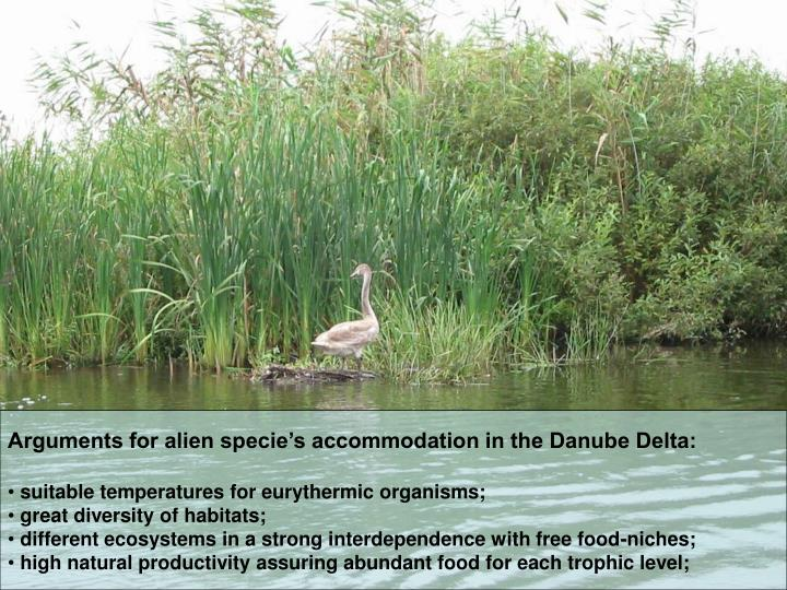 Arguments for alien specie's accommodation in the Danube Delta: