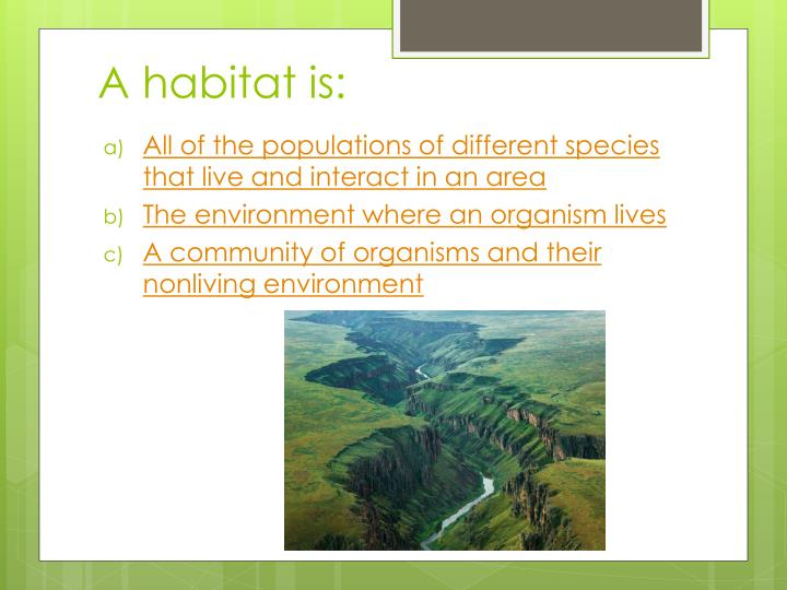 A habitat is: