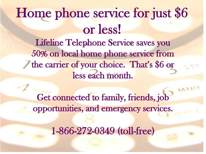 Home phone service for just $6 or less!