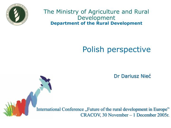 the ministry of agriculture and rural development department of the rural development n.