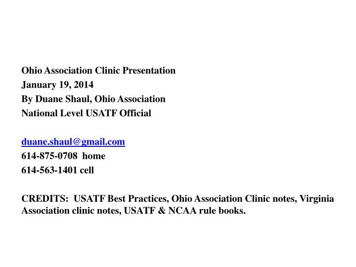 Ohio Association Clinic Presentation