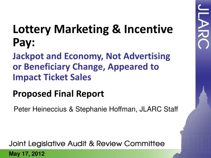 Lottery marketing incentive pay