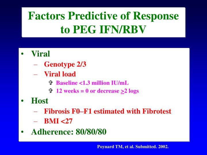 Factors Predictive of Response to PEG IFN/RBV