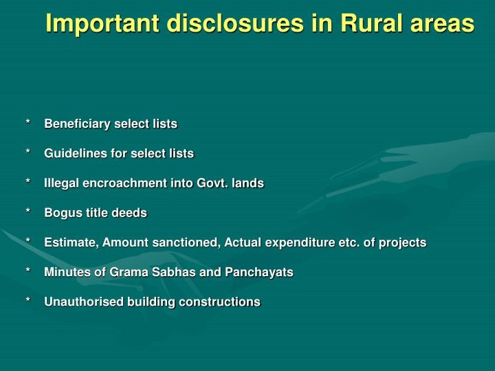 Important disclosures in Rural areas