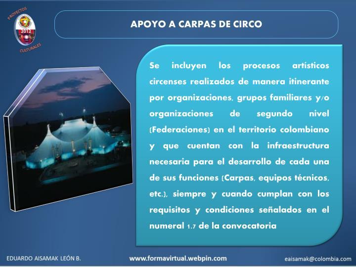 APOYO A CARPAS DE CIRCO