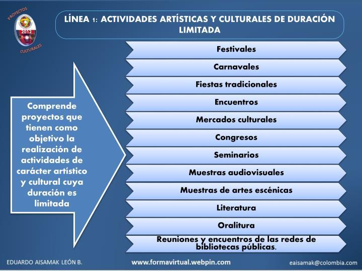LÍNEA 1: ACTIVIDADES ARTÍSTICAS Y CULTURALES DE DURACIÓN LIMITADA
