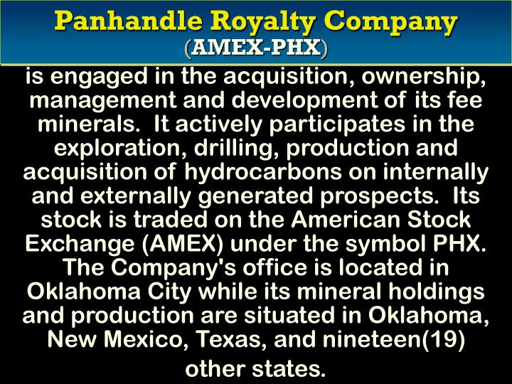 Panhandle royalty company amex phx