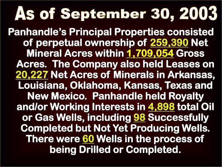 As of September 30, 2003