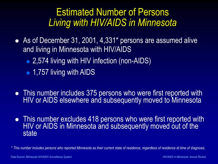 As of December 31, 2001, 4,331* persons are assumed alive and living in Minnesota with HIV/AIDS