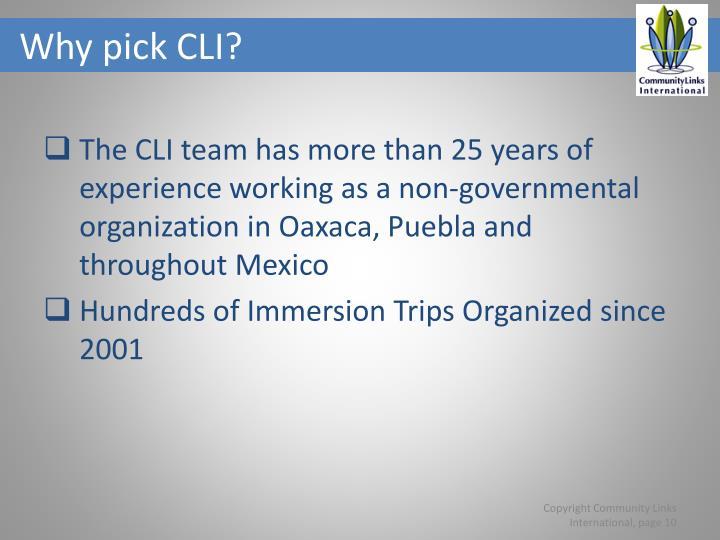Why pick CLI?
