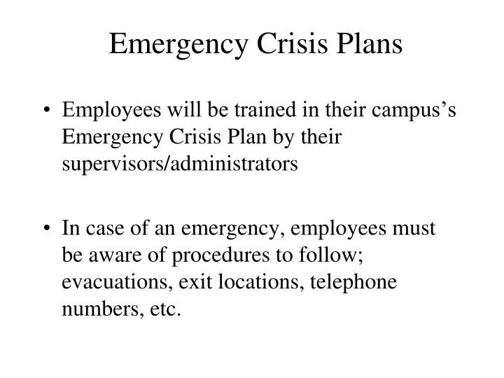 Emergency Crisis Plans