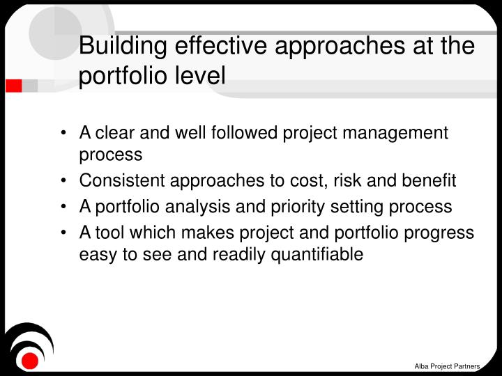 Building effective approaches at the portfolio level