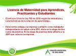 licencia de maternidad para aprendices practicantes y estudiantes