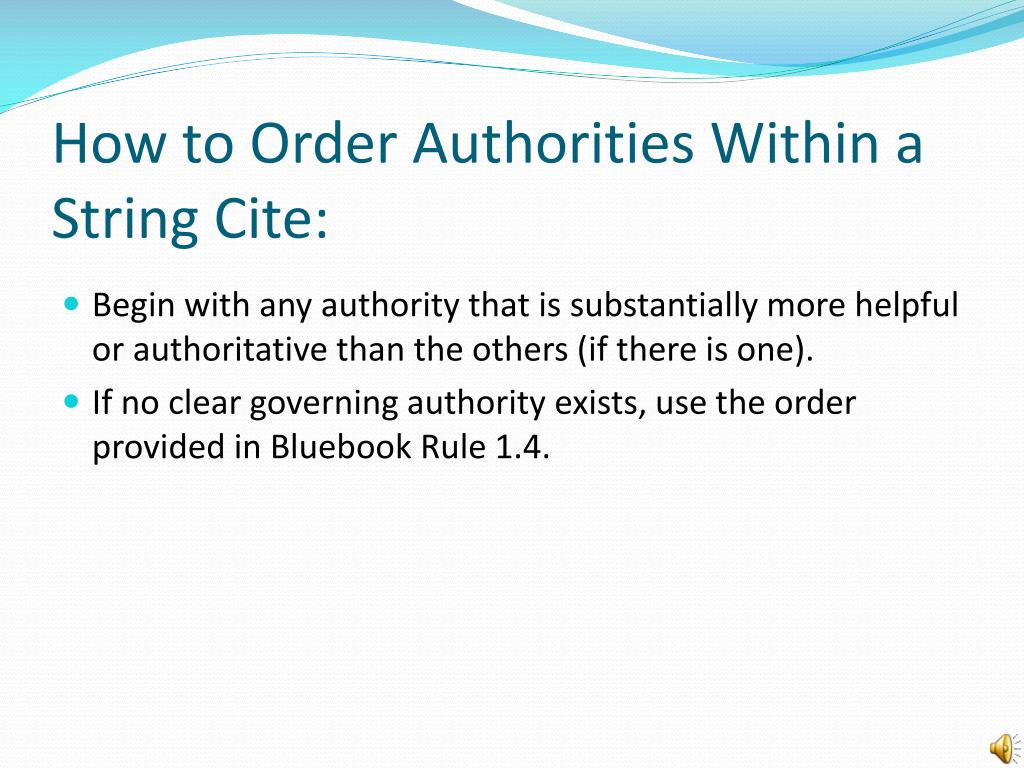 PPT - String Citations, Parallel Citations, and Order of