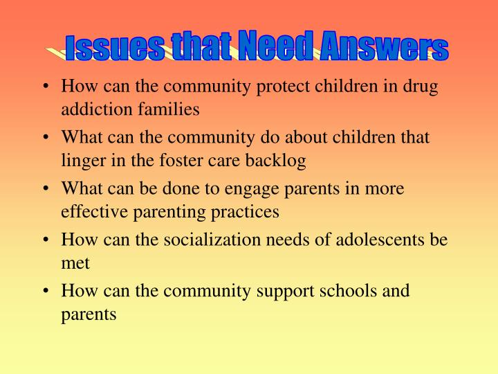Issues that Need Answers