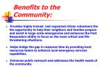 benefits to the community1