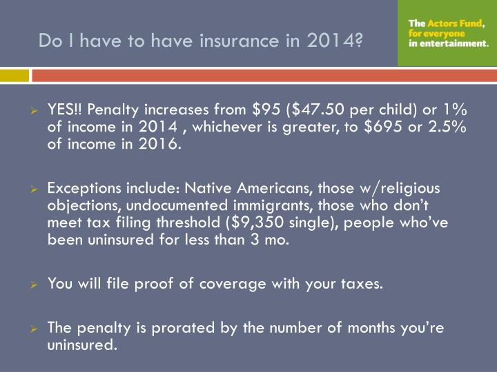 Do I have to have insurance in 2014?