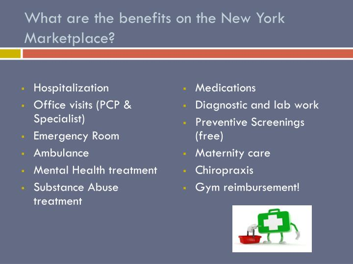 What are the benefits on the New York Marketplace?